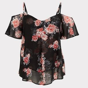 Torrid Cold Shoulder Floral Top